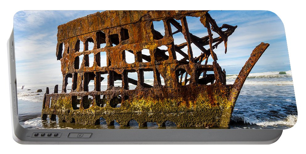 Peter Iredale Portable Battery Charger featuring the photograph Peter Iredale Shipwreck - Oregon Coast by Gary Whitton