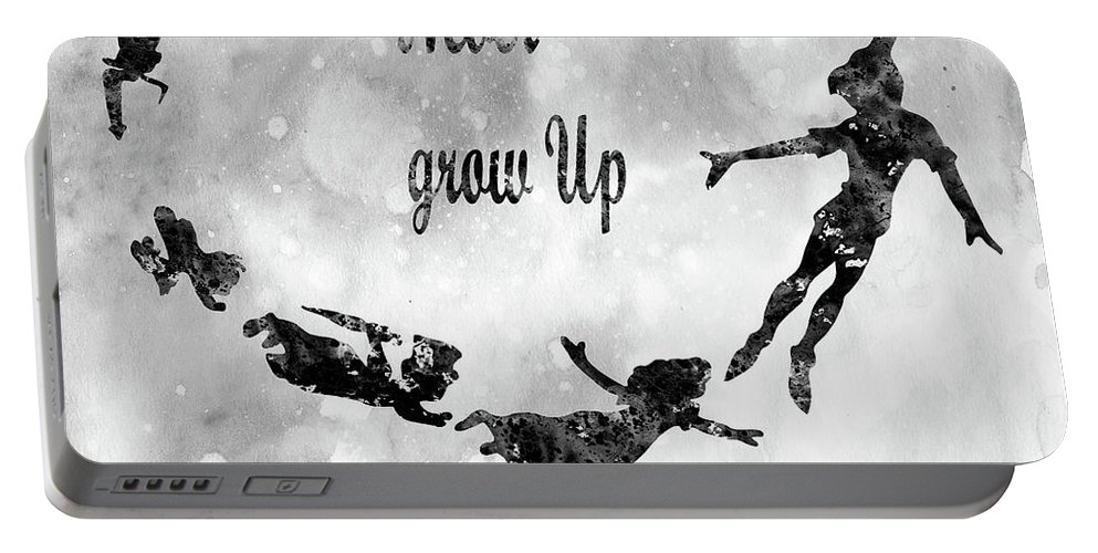 Peter Pan And The Darling Children Portable Battery Charger featuring the digital art Peter Pan-black by Erzebet S
