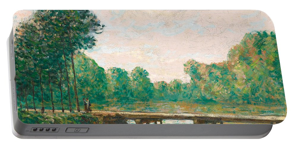 Alfred Sisley Portable Battery Charger featuring the painting Petit Pont Sur L'orvanne by Alfred Sisley