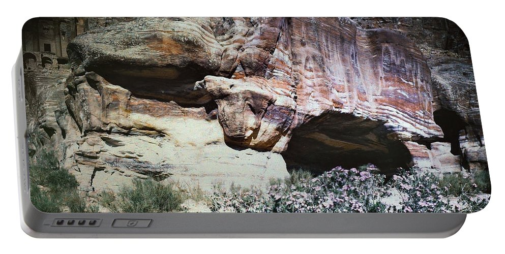 1939 Portable Battery Charger featuring the photograph Petra, Transjordan: Cave by Granger