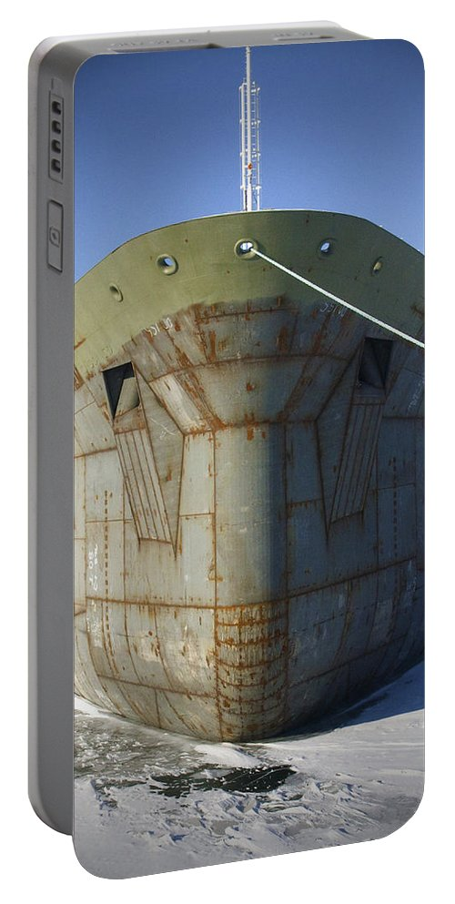 Boats Portable Battery Charger featuring the photograph Petrochem Supplier Hull by Tim Nyberg