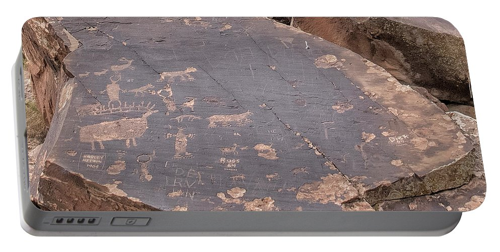 Clouds Portable Battery Charger featuring the photograph Petroglyphs by Jim Thompson