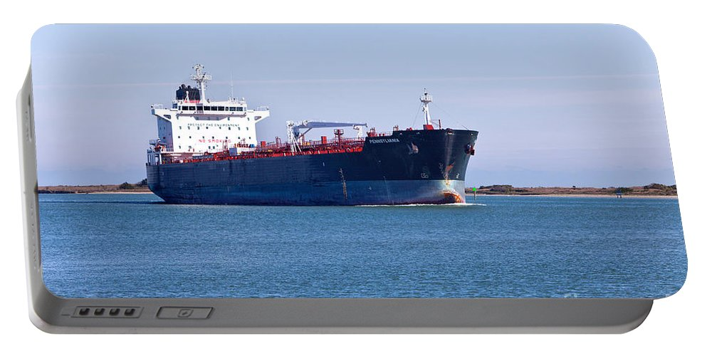 Petroleum Tanker Portable Battery Charger featuring the photograph Petroleum Tanker En Route by Inga Spence
