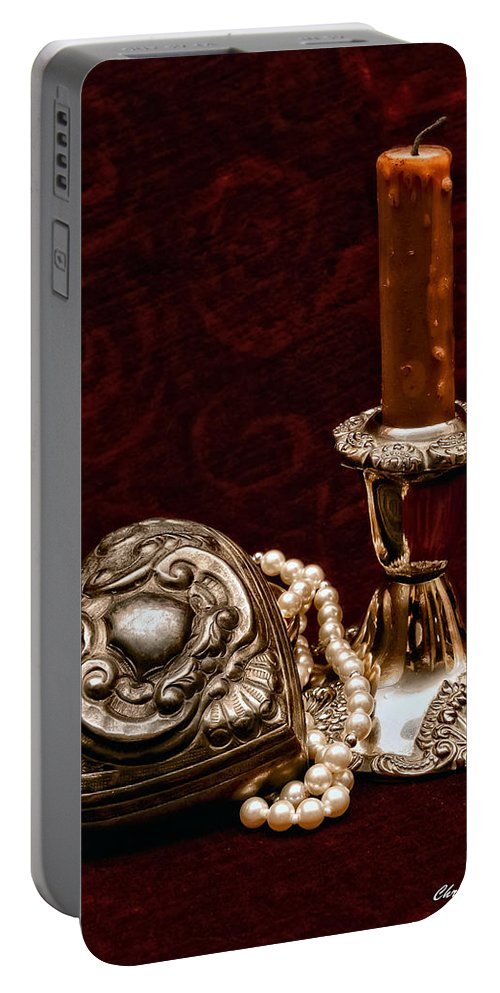 Pewter Portable Battery Charger featuring the photograph Pewter And Pearls by Christopher Holmes