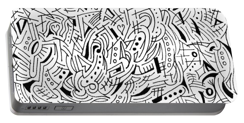 Mazes Portable Battery Charger featuring the drawing Phantasm by Steven Natanson