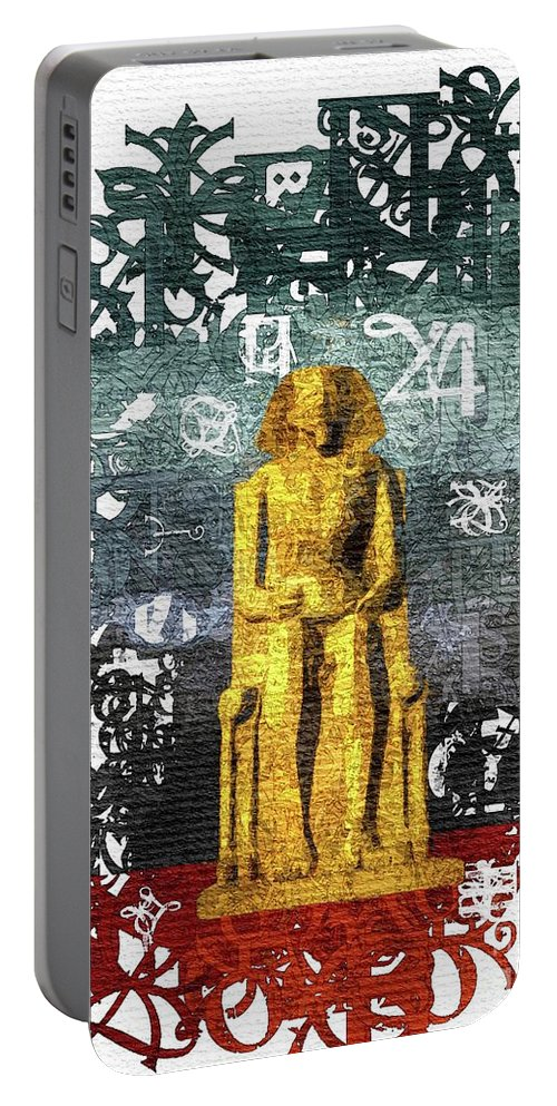 Pharaoh Portable Battery Charger featuring the painting Pharaoh Of Egypt by Sarah Kirk