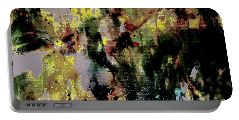 Pharrell Williams Portable Battery Charger featuring the painting Pharrell Williams Paint Splats by Brian Reaves