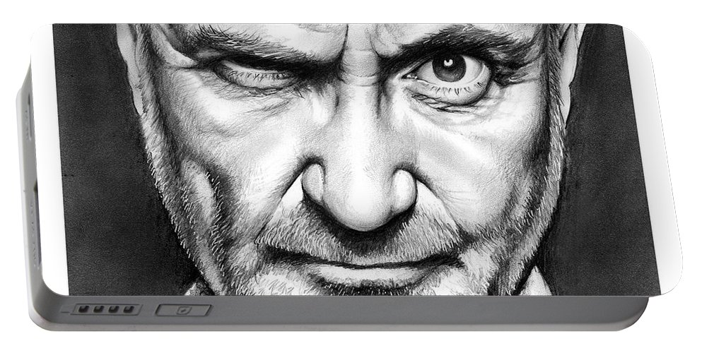 Phil Collins Portable Battery Charger featuring the drawing Phil Collins by Greg Joens