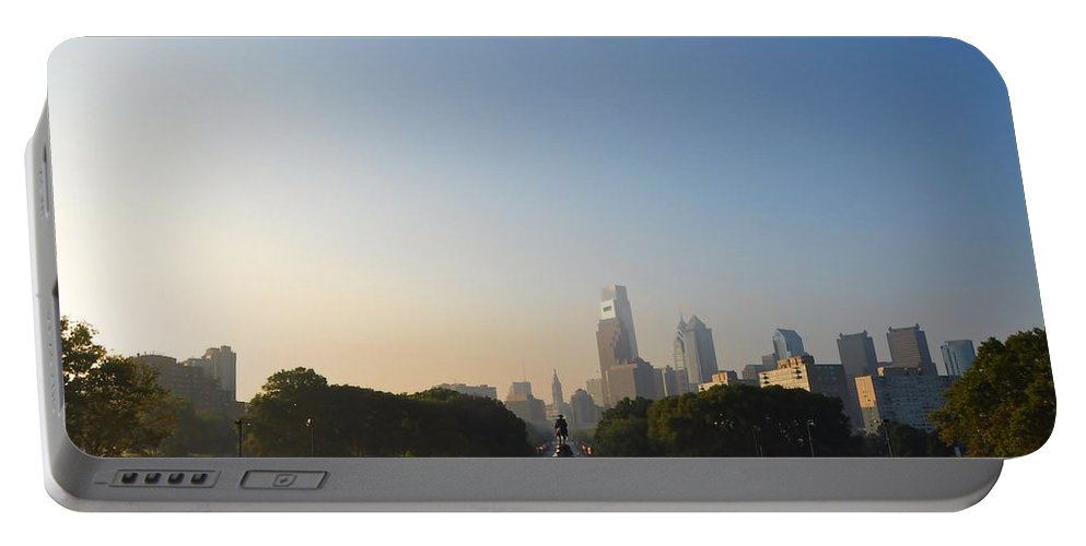 Eakins Oval Portable Battery Charger featuring the photograph Philadelphia Across Eakins Oval by Bill Cannon