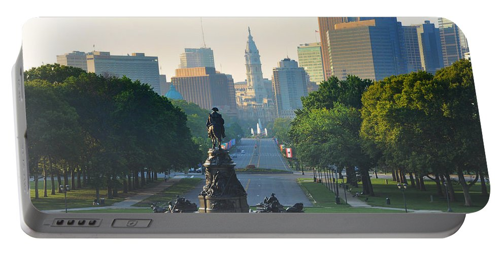 Philadelphia Portable Battery Charger featuring the photograph Philadelphia Benjamin Franklin Parkway by Bill Cannon
