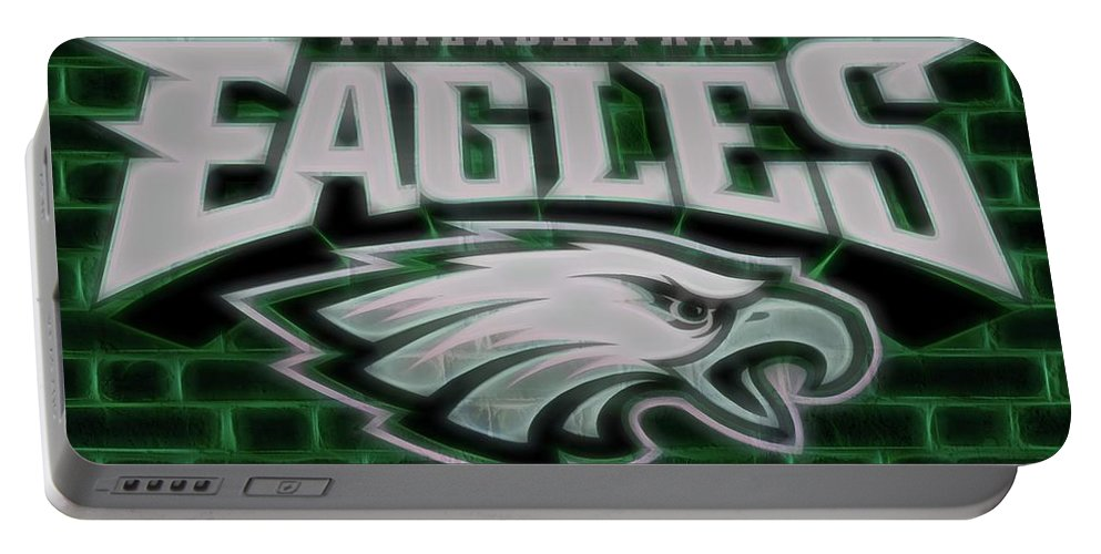 Philadelphia Eagles Electric Sign Portable Battery Charger featuring the digital art Philadelphia Eagles Electric Sign by Dan Sproul