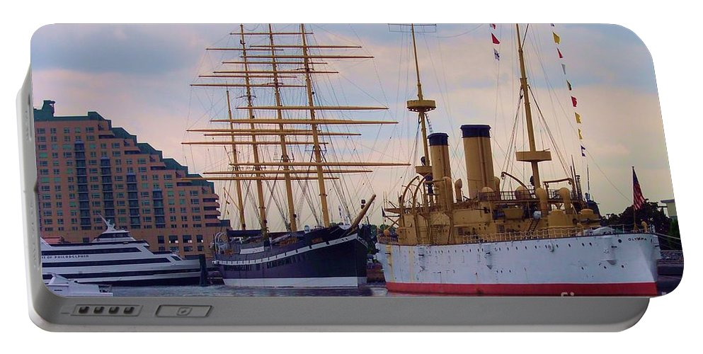 Philadelphia Portable Battery Charger featuring the photograph Philadelphia Waterfront Olympia by Debbi Granruth