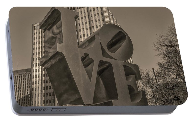 Philly Portable Battery Charger featuring the photograph Philly Esque - Love Statue In Sepia by Bill Cannon