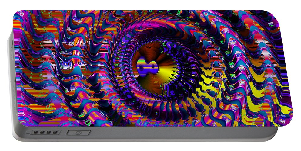 Colorful Portable Battery Charger featuring the digital art Philosophical Rainbow by Robert Orinski