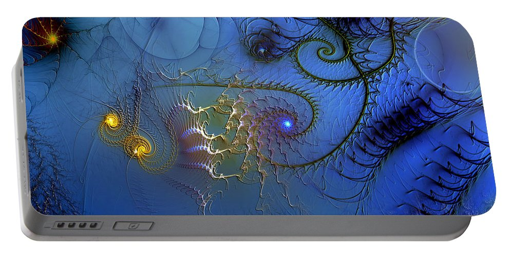 Abstract Portable Battery Charger featuring the digital art Philosophical Ventriloquism by Casey Kotas