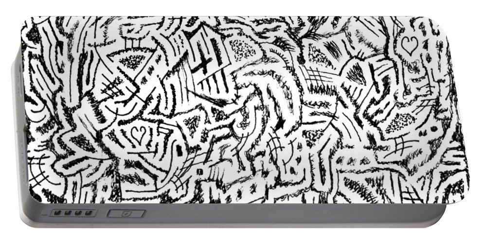 Mazes Portable Battery Charger featuring the drawing Phlogiston by Steven Natanson
