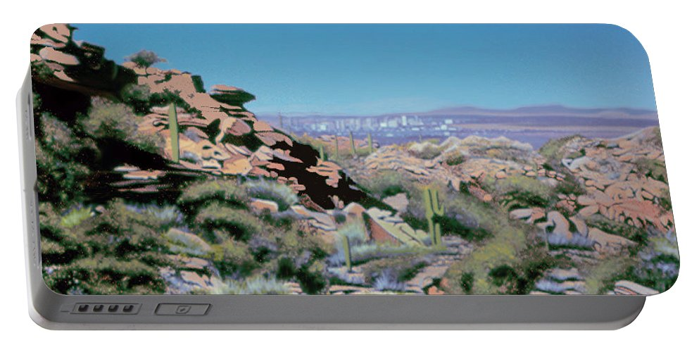 South Mountain Portable Battery Charger featuring the painting Phoenix Circa 1990 by Joe Roselle