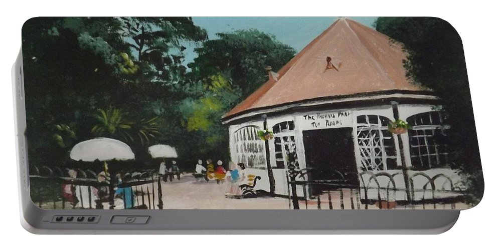 Phoenix Park Portable Battery Charger featuring the painting Phoenix Park Tearooms by Tony Gunning