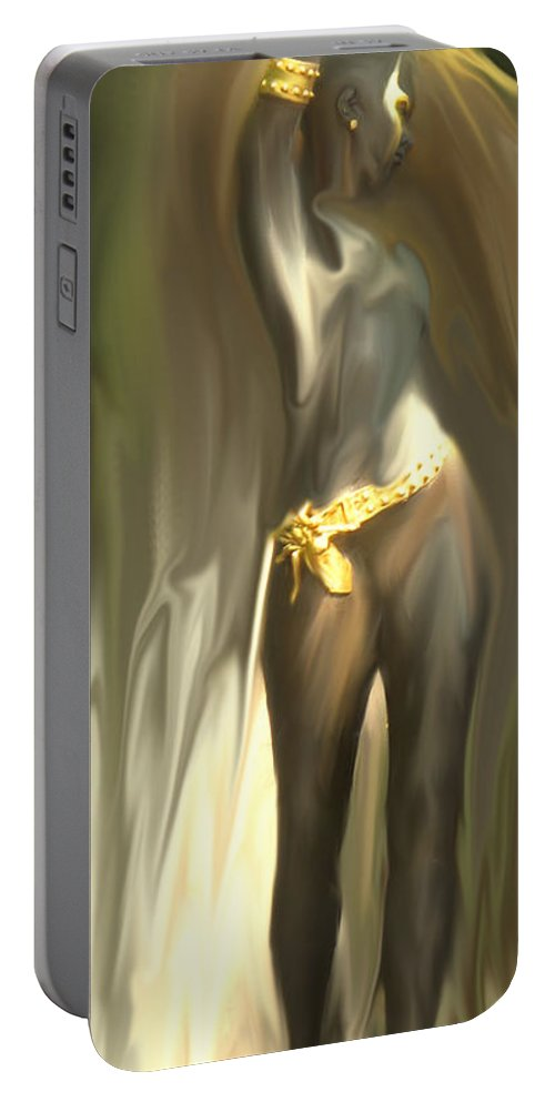 Abstract Portable Battery Charger featuring the digital art Phoenix Rising by Ian MacDonald