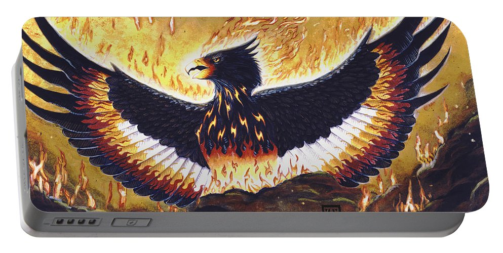 Phoenix Portable Battery Charger featuring the painting Phoenix Rising by Melissa A Benson