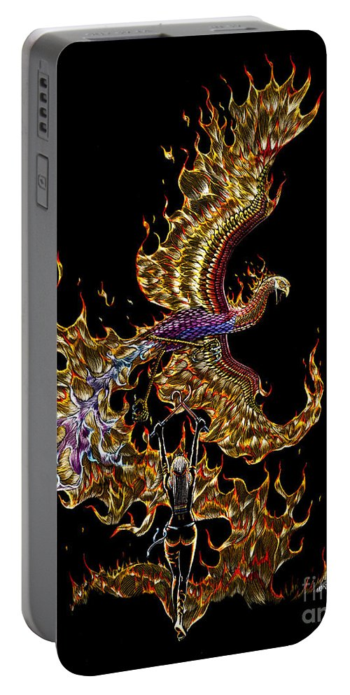 Phoenix Portable Battery Charger featuring the drawing Phoenix by Stanley Morrison