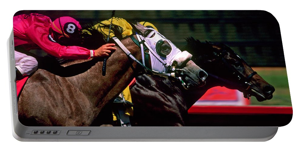 Horse Portable Battery Charger featuring the photograph Photo Finish by Kathy McClure