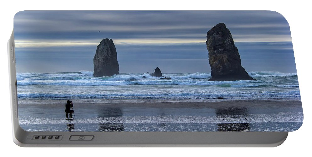 Cannon Beach Portable Battery Charger featuring the photograph Photographer At Cannon Beach by David Gn