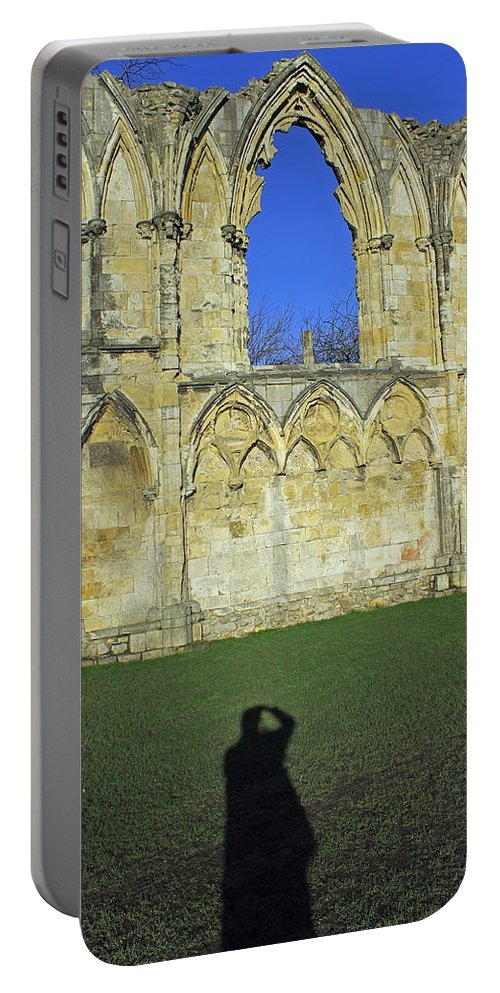 St. Mary's Abbey Portable Battery Charger featuring the photograph Photographers Shadow by Tony Murtagh