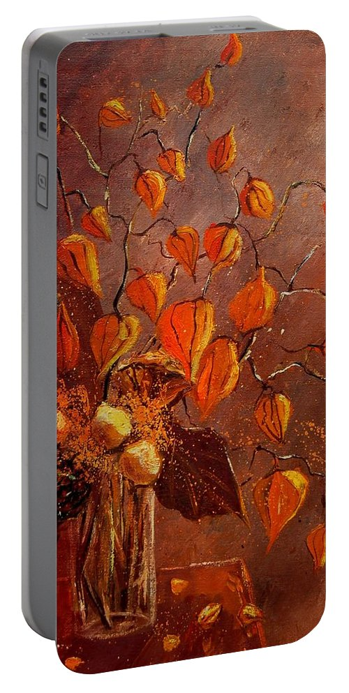 Poppies Portable Battery Charger featuring the painting Physialis by Pol Ledent