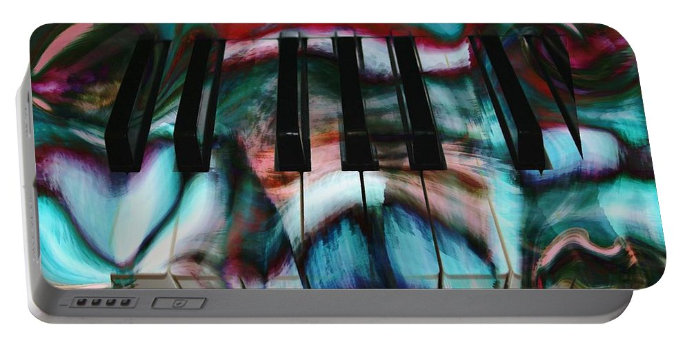 Abstract Art Portable Battery Charger featuring the digital art Piano Colors by Linda Sannuti