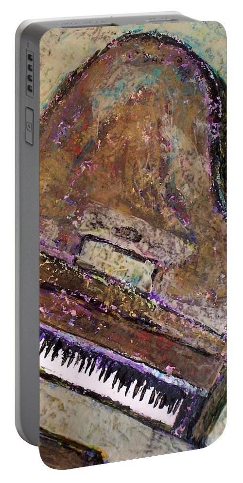 Piano Portable Battery Charger featuring the painting Piano In Bronze by Anita Burgermeister