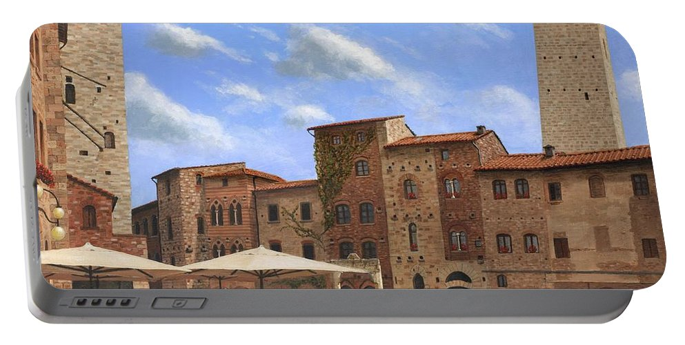 Landscape Portable Battery Charger featuring the painting Piazza Della Cisterna San Gimignano Tuscany by Richard Harpum