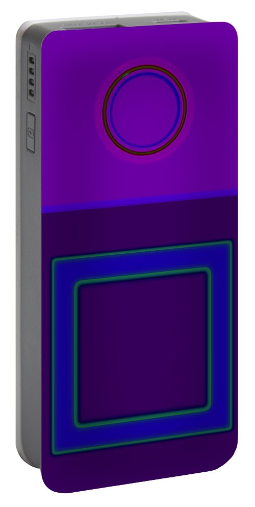 Classical Portable Battery Charger featuring the digital art Piazza Purple by Charles Stuart