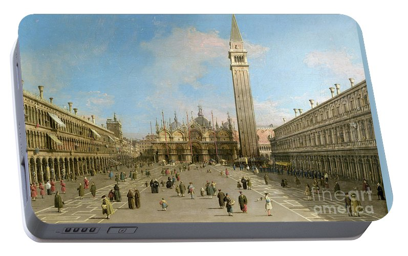 Canaletto Portable Battery Charger featuring the painting Piazza San Marco Looking Towards The Basilica Di San Marco by Canaletto