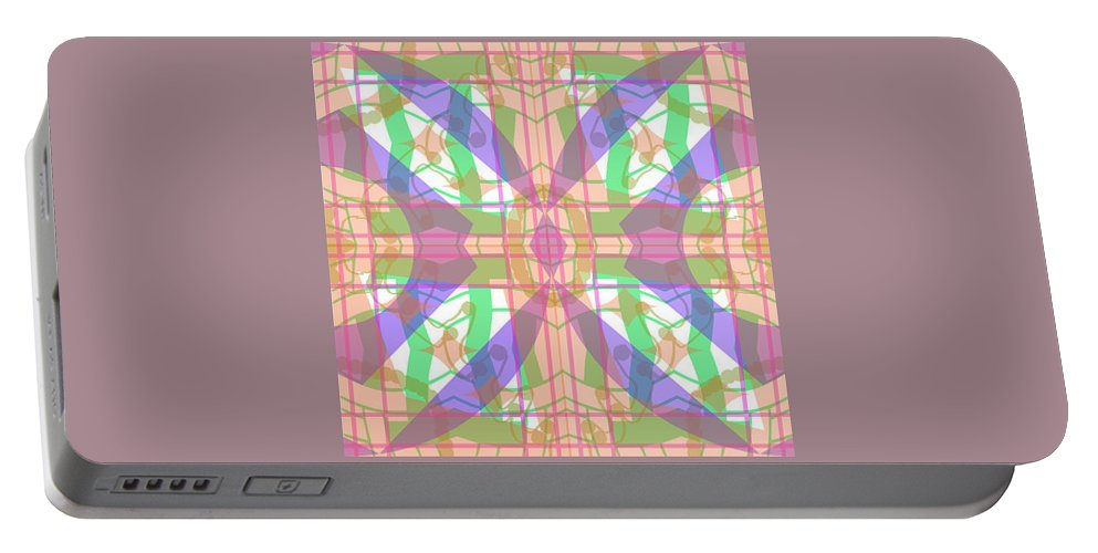 Digital Geometric Abstract Design Pattern Portable Battery Charger featuring the digital art Pic7_coll1_15022018 by John England