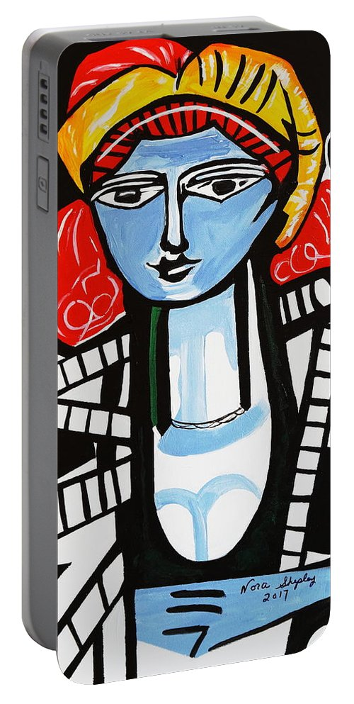 Picasso Portable Battery Charger featuring the painting Picasso By Nora Film Star by Nora Shepley