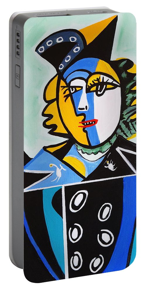 Picasso By Nora Portable Battery Charger featuring the painting Picasso By Nora The Queen by Nora Shepley
