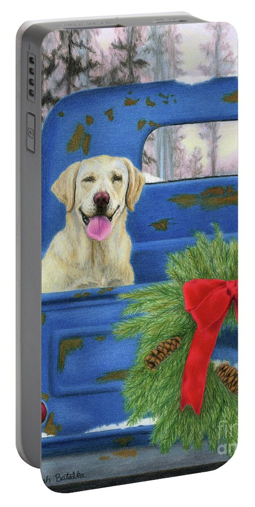 Christmas Portable Battery Charger featuring the painting Pick-en Up The Christmas Tree by Sarah Batalka