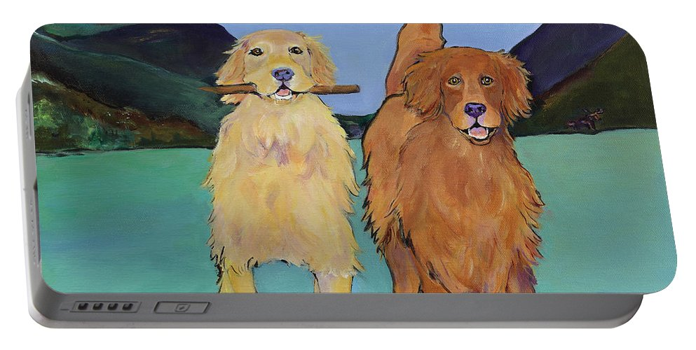 Golden Retrievers Portable Battery Charger featuring the painting Pick-Up Sticks by Pat Saunders-White