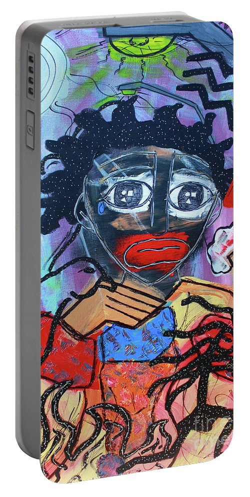 Portable Battery Charger featuring the painting Pickaninny Tears by Odalo Wasikhongo