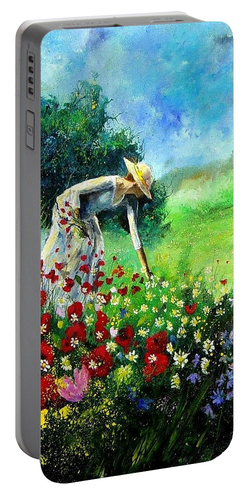 Poppies Portable Battery Charger featuring the painting Picking Flower by Pol Ledent