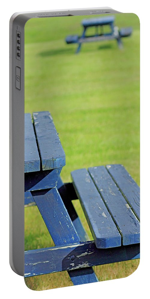 Picnic Portable Battery Charger featuring the photograph Picnic Tables by Brian Pflanz