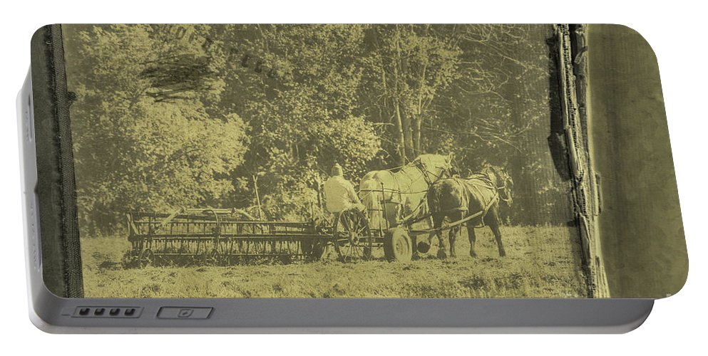 Antique Portable Battery Charger featuring the photograph Picture Of Amish Boy In Book by David Arment