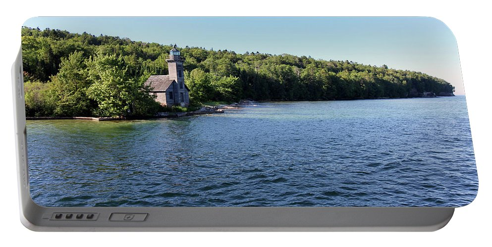 Lighthouse Portable Battery Charger featuring the photograph Pictured Rocks Lighthouse by Jackson Pearson