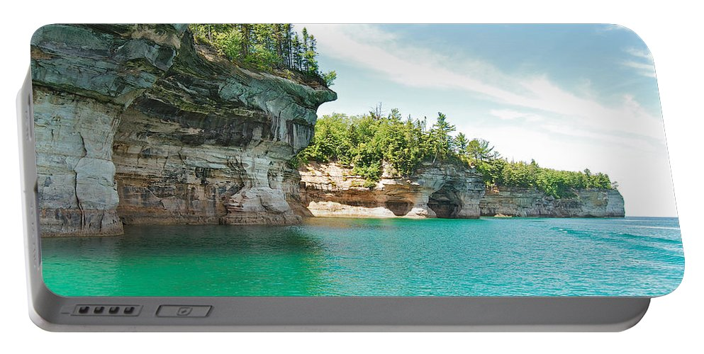 Landscape Portable Battery Charger featuring the photograph Pictured Rocks by Michael Peychich