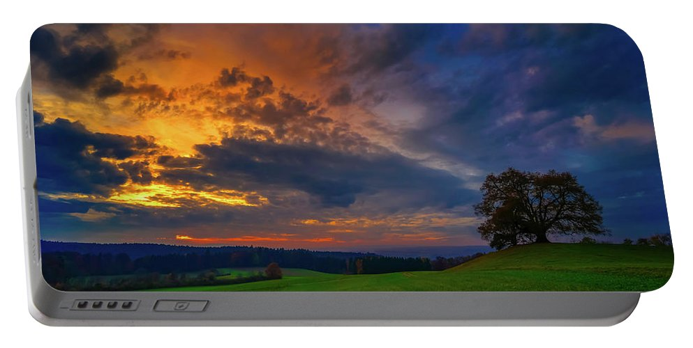 Sunset Portable Battery Charger featuring the photograph Picturesque Rural Sunset by Der Typ Von Nebenan