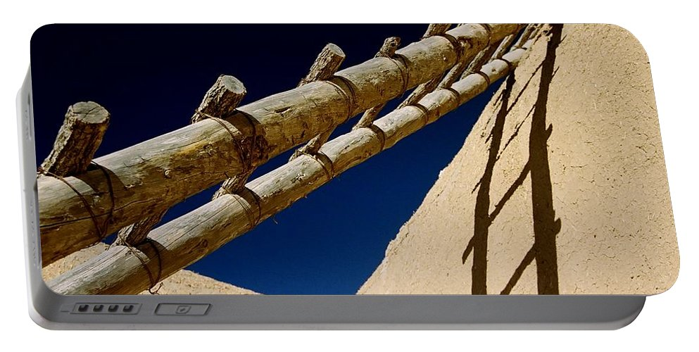 Ladder Portable Battery Charger featuring the photograph Picuris Pueblo Ladder. by Spirit Vision Photography