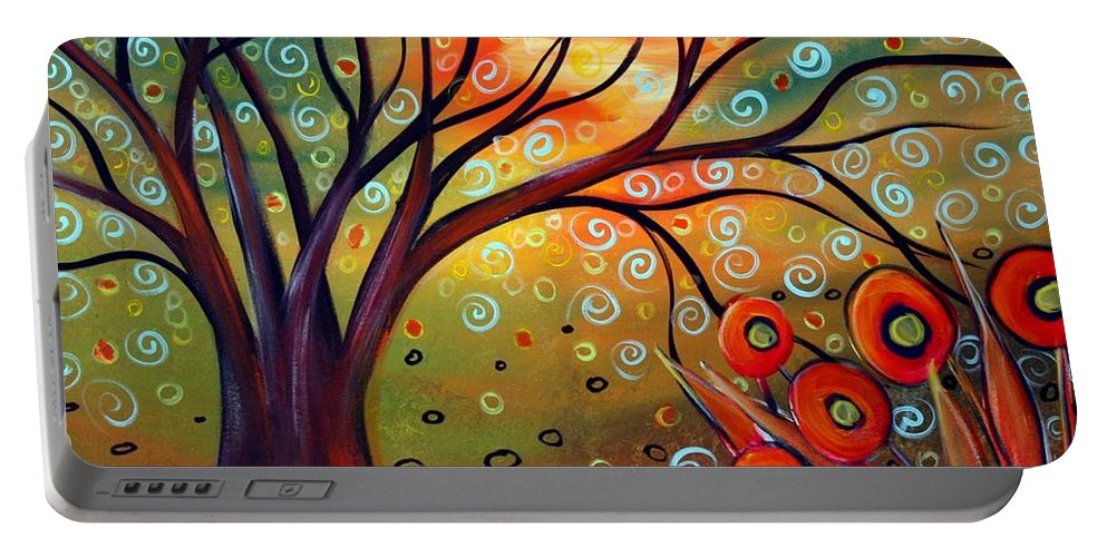 Landscape Portable Battery Charger featuring the painting Piece Of Eden by Luiza Vizoli