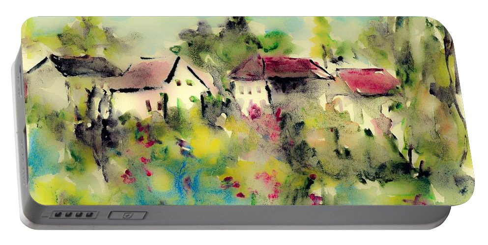 Piece Portable Battery Charger featuring the painting Piece Of Heaven by Cuiava Laurentiu
