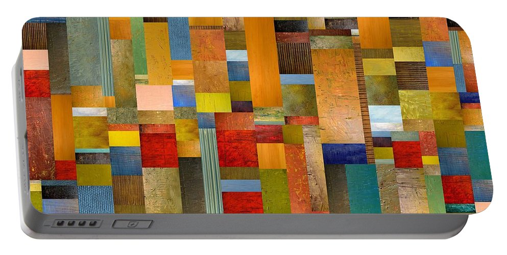 Multicolored Portable Battery Charger featuring the painting Pieces Parts by Michelle Calkins